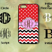 Monogram Red and Black Polka Dots Chevron Apple iPhone 5, 5s, 5c, 4s, 4 case, Ipod touch 4,5, Samsung Galaxy 3, 4, 5 case