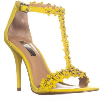 I35 Rosiee Flower T-Strap Sandals, Lemon, 5 US