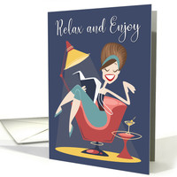 Retro Woman Reading a Book Relax and Enjoy Mother's Day card