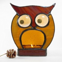 Stained Glass Candle Holder Owl OOAK Handmade
