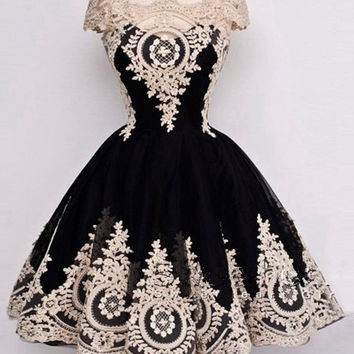 A-Line Prom Dress,Black Prom Dress,Short Evening Dresses