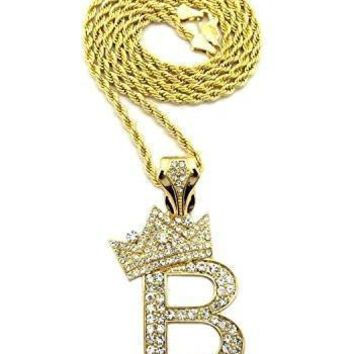QIYIF BenzinOOsales Letter B King Crown iced out