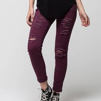 Vanilla Star Premium Destructed Roll Cuff Womens Skinny Jeans Wine  In Sizes
