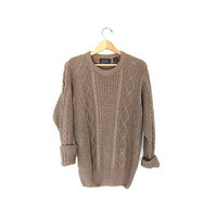 Vintage loose knit sweater. Light brown boyfriend sweater. Linen & cotton chunky sweater. Preppy cable knit sweater. S M L
