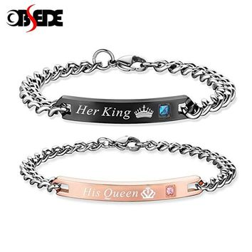 Cool OBSEDE Fashion Unique Gifts for Lovers Her King His Queen Stainless Steel Couple Bracelets for Women Men Jewelry with CrystalAT_93_12