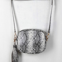 Python Tassel Shoulder Mini Bag
