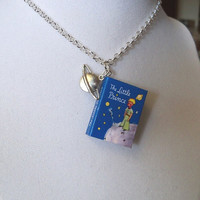 The Little Prince with Planet Saturn Charm - Blue - Miniature Book Necklace