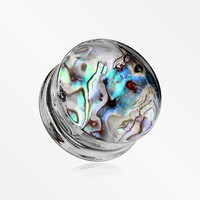 A Pair of Abalone Inlay Double Flared Ear Gauge Plug