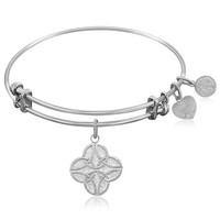 Expandable Bangle in White Tone Brass with Celtic Four Knot Good Fortune Symbol