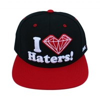 DGK x Diamond Supply Co. I Love Hearts Diamond Ghetto Kids Haters Snapback Hat - Black / Red