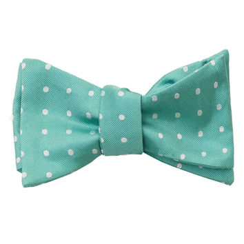 Laurent-Mint Dots Self Tie Bow