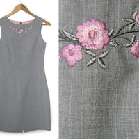 Vintage Embroidered Dress~Size Small/Medium~90s Floral Pink Flower Gray Striped Short Dress