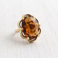Vintage Amber Brown Glass Stone Ring - Signed Sarah Coventry 1970s Gold Tone Adjustable Costume Jewelry / Scalloped
