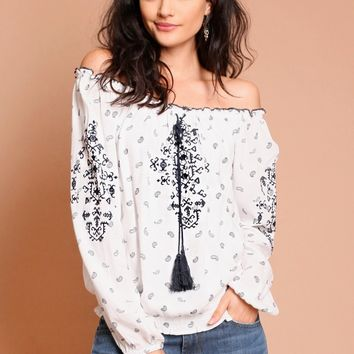 Looking Up Off-Shoulder Blouse | Threadsence