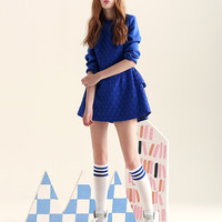 Patterned Long-Sleeve Ruffled Back Dress