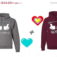 Valentine Sale Wolrd's Greatest HUSBAND World's Greatest WIFE Matching Couples Hoodies Sweatshirts in Grey and Maron. Personalize by adding
