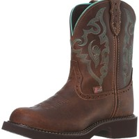 """Justin Boots Women's Gypsy Collection 8"""" Boot with Perfed Saddle Vamp,Tan Jaguar,8.5 B US"""