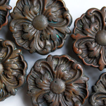 FREE SHIPPING 6pc Vintage Antique Large Ornate Victorian Drawer Pulls, Set of 6, ET804