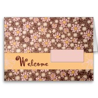 Brown retro flower baby girl note card-stationery