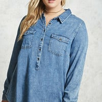 Plus Size Denim Henley Shirt