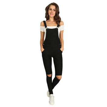 Summer Women Overalls Black Bodysuit Jeans Jumpsuit Long-Pants Hole Pocket Sleeveless Pencil Pants Rpmpers Femme P0912