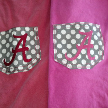 Custom Monogrammed Initial Pocket Tee Alabama Crimson Tide Auburn Tigers -Short Sleeved