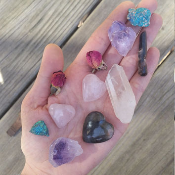 loving soul, crystal bundle, crystal gift set, starter kit, rose quartz heart, selenite heart,  amethyst,  quartz point