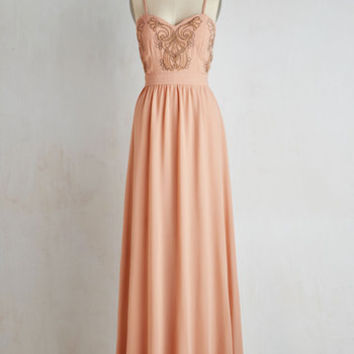 Long Sleeveless A-line Impressed to the Nines Dress