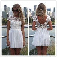 Women Sexy Lace Backless Dress 3 Colors = 5738193793