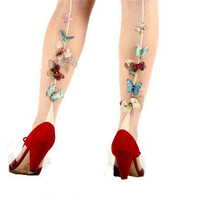 Fluttery Butterflies on Ivory Pantyhose with Back Seam