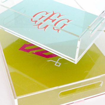 Personalized Lucite Tray   Stacked Monogram