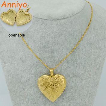 Anniyo Big Heart Necklaces for Women Gold Color Romantic Jewelry Love Pendant Chain Birthday Items/Girlfriend Gift #009802