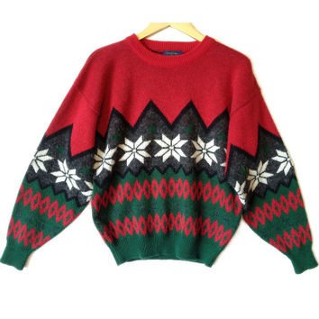 Vintage 90s Nordic Snowflake Men's Ski / Ugly Christmas Sweater