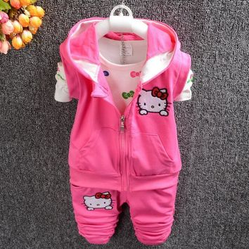 Retail!2016 new autumn children's clothes suit ,baby girls hello kitty T-shirt +vest +pants 3 piece suit,free shipping