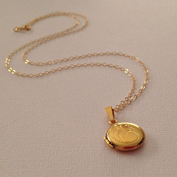 small listing il miniature gold round lockets necklace tiny locket