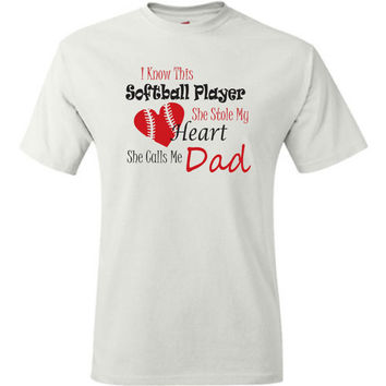 Softball dad shirt. White or grey. Proud softball dad t shirt. Softball player stole my heart, she calls me dad.  Pink pig printing