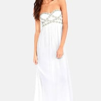 Perfect Poise Strapless White Maxi Dress