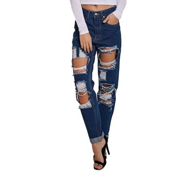 Blue high waist ripped jeans