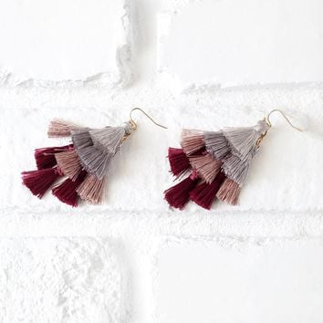 Burgundy and Mauve Mini Tassel Earrings