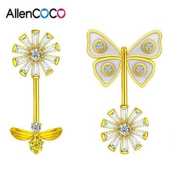 Luxury Super Fairy Asymmetry Bee Butterfly Crystal Flower Stud Earrings Pave AAA+ Zircon Crystal Shell Silver Earrings for Women