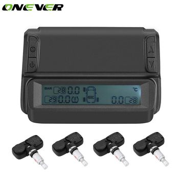 Onever Car 4 Internal Sensor TPMS Systems Solar Power Wireless Car Tire Pressure Alarm Monitoring System IP67 Waterproof Sensor