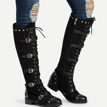 Buckle Design Lace Up Knee High Boots