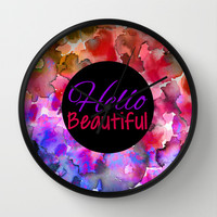 HELLO BEAUTIFUL Colorful Art Typography Inspirational Abstract Watercolor Painting Ombre Rainbow Wall Clock by EbiEmporium