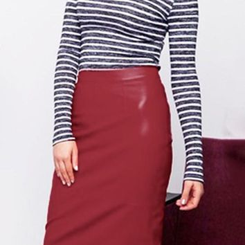 Burgundy Buttons Zipper PU Leather Bodycon High Waisted Skirt