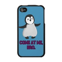 Come At Me, Bro Penguin iPhone Case from Zazzle.com