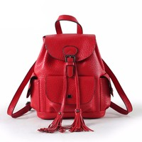 Venice Genuine Leather Backpack with Tassels