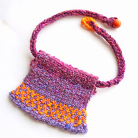 Purple and orange, fiber necklace, knitted jewelry, purple choker, knit necklace, fiber jewelry, bib necklace