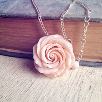 Rose necklace, flower pendant, rose jewelry, handcrafted flower jewelry, floral necklace, floral jewelry, rose flower necklace