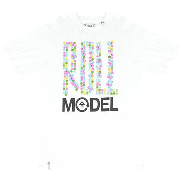 Lifted Research Group Logo Roll Model Quote Buttons Pattern Men's White T-shirt