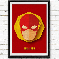 The Flash Watercolor Art Print Vintage Poster, DC Comics Superhero, Nursery Room Wall Art, Home Decor, Not Framed, Buy 2 Get 1 Free
